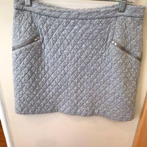 Gray Mini Skirt Quilted Grey Skirt Zipper Details